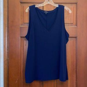 Navy blue v neck blouse
